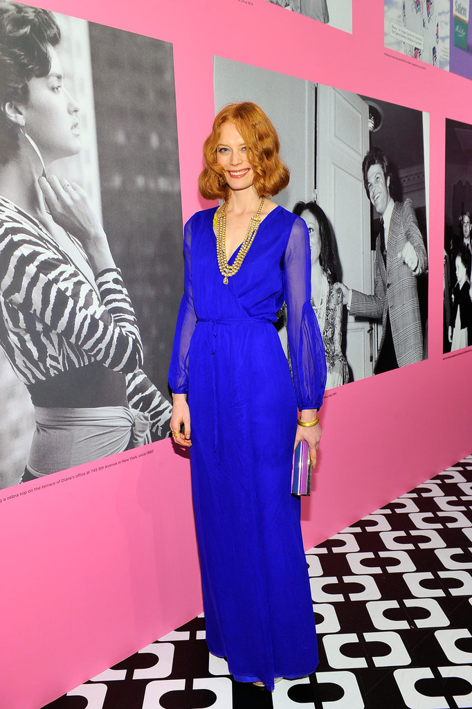 The brand's joie de vivre was on full display in the electric lapis-blue Fall 2013 gown Jessica Joffe selected for the night.