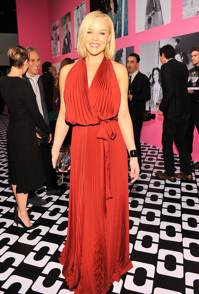 DVF's days as a disco queen were given proper homage with Abbie Cornish's pleated dress. The actress also carried a minaudière from the label.