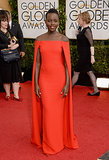 Lupita Nyong'o made a stunning Golden Globes arrival in her red Ralph Lauren dress.