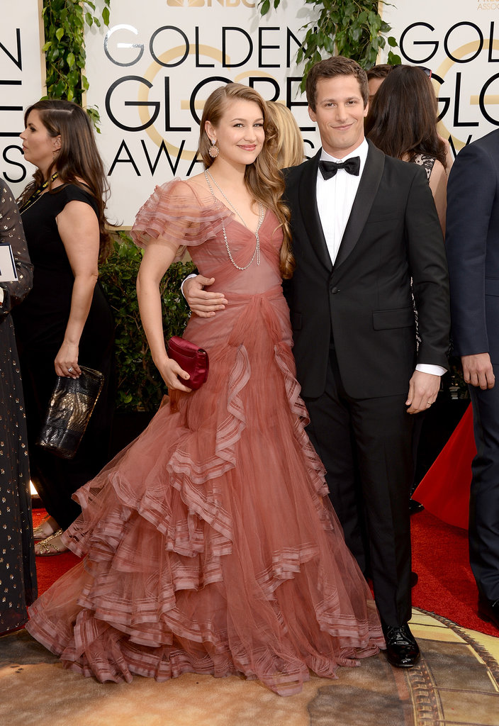 Andy Samberg kept his arm around Joanna Newsom on the red carpet.