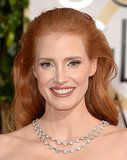 Jessica Chastain's Golden Globes look was all about her signature locks. Her fiery strands were teased at the crown, then cascaded down her back in perfect coils.