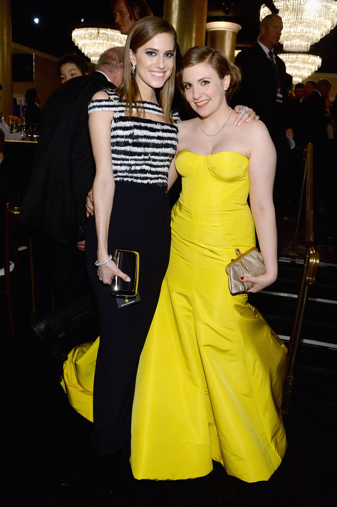 Girls stars Allison Williams and Lena Dunham got together inside the show.  Source: Larry Busacca/NBC/NBCU Photo Bank/NBC
