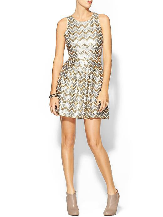 Ark & Co. Metallic Chevron Dress