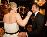 Hugs all around! Bradley Cooper showed Jennifer Lawrence love.
