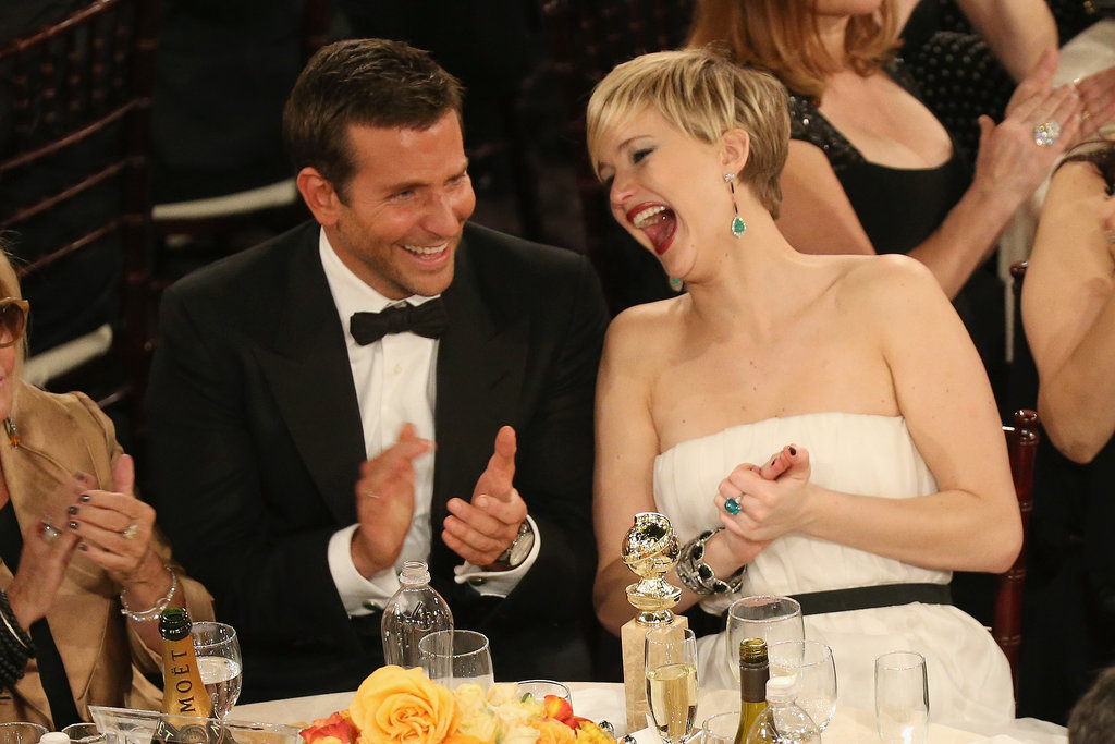 Jennifer Lawrence and Bradley Cooper enjoyed a good laugh at the Golden Globes in LA. Source: Christopher Polk/NBC/NBCU Photo Bank/NBC