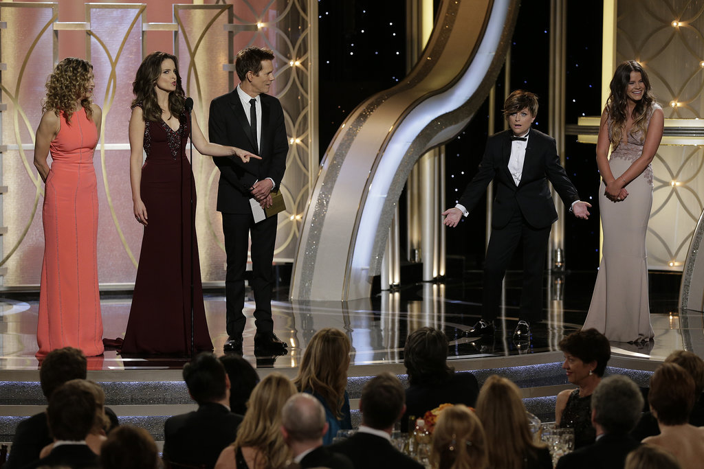 """In the name of gender equality, my adult son from a previous relationship, Randy."" — Tina revealing Amy dressed up as her son, Mr. Golden Globes."