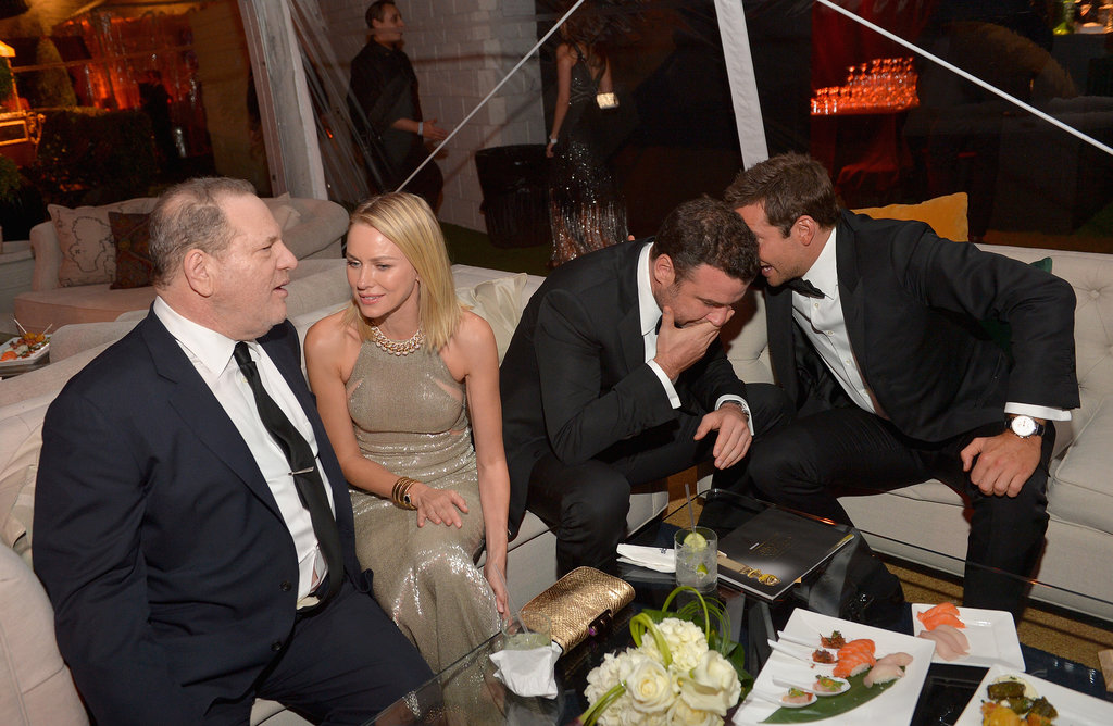 Naomi Watts chatted with Harvey Weinstein while Bradley Cooper and Liev Schreiber talked nearby.