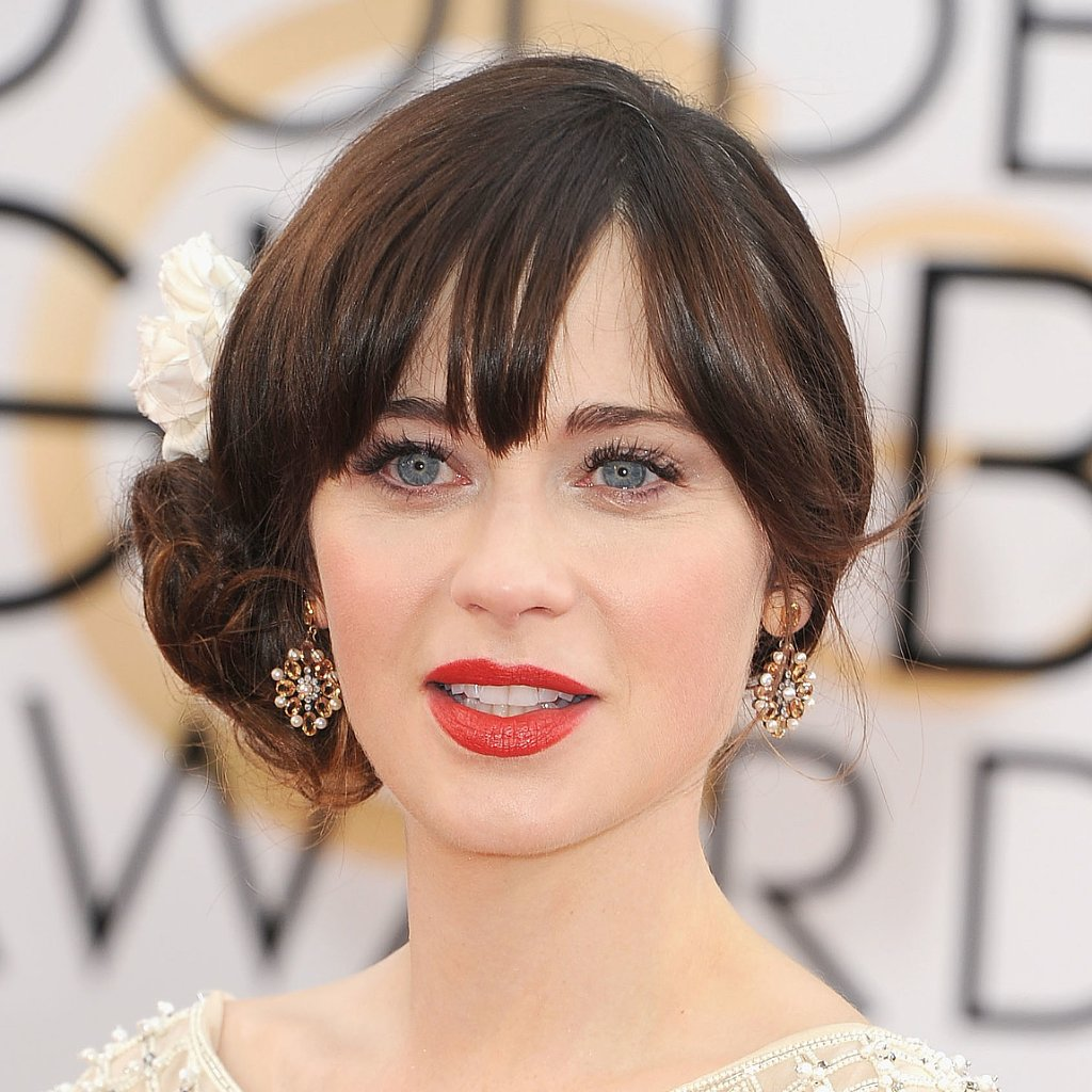 Zooey Deschanel's Hair and Makeup at Golden Globes 2014