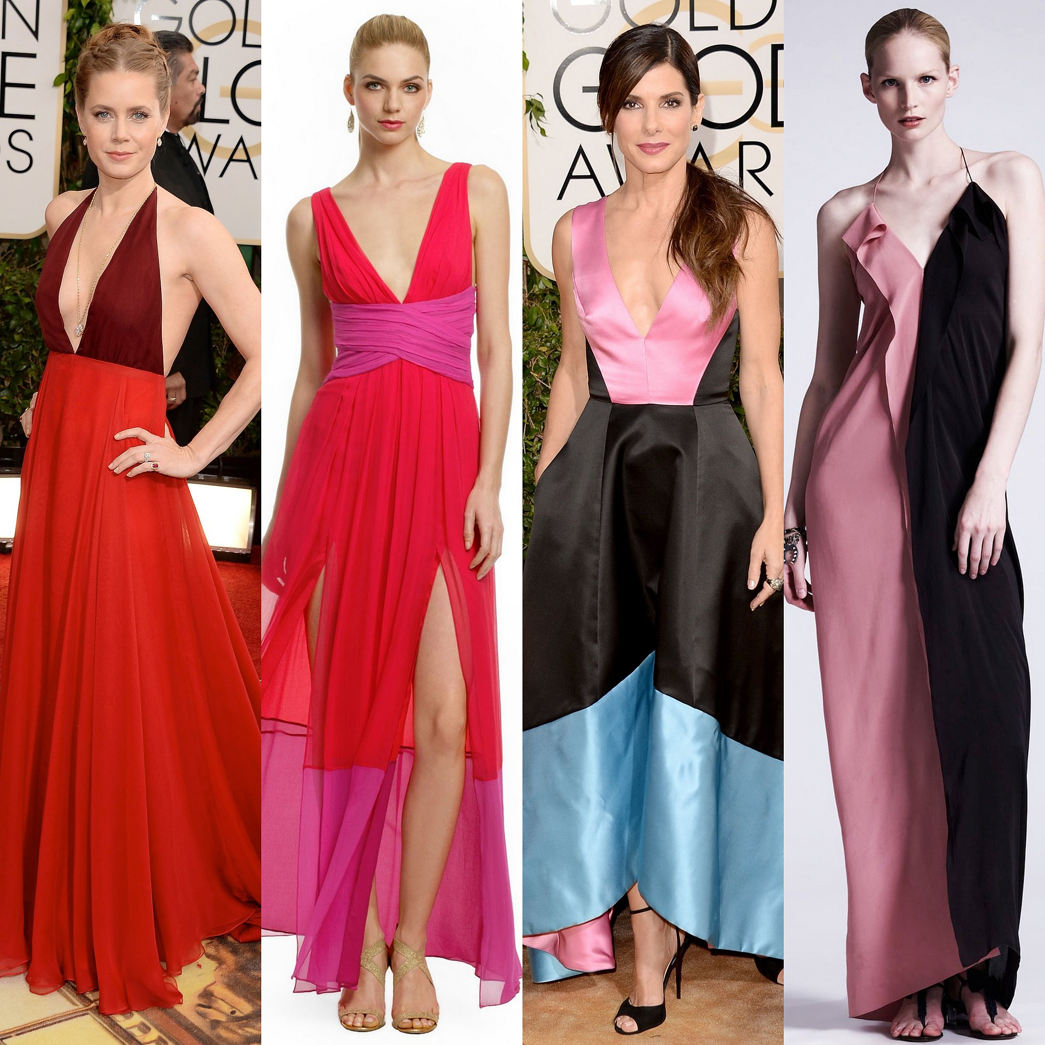 Amy Adams and Sandra Bullock are both in color-heavy colorblock gowns that accentuate each lady's best assets.