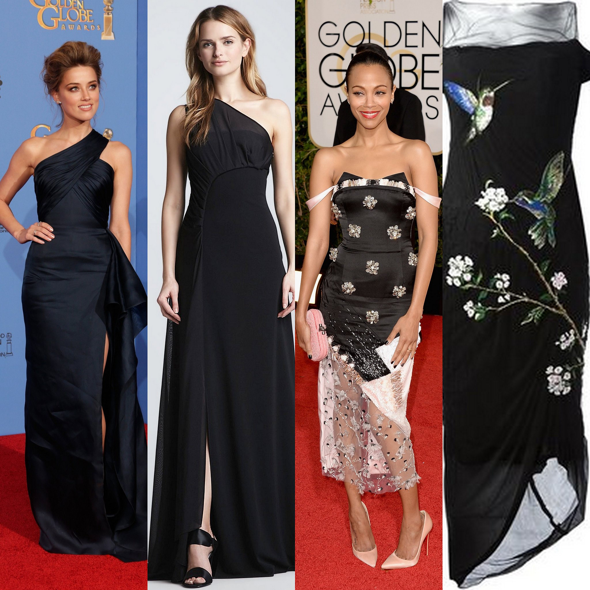 Amber Heard and Zoe Saldana both give us some good shoulder looks.