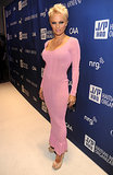 Pamela Anderson wore a pink frock.