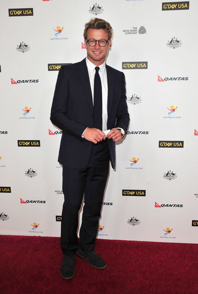 Simon Baker suited up for the event.