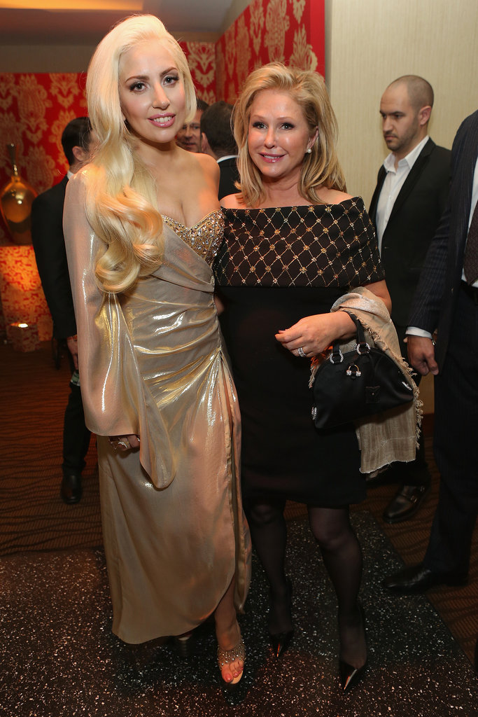 Lady Gaga wore L'Dezen by Payal Shah at Plukka earrings while she mingled with Kathy Hilton.
