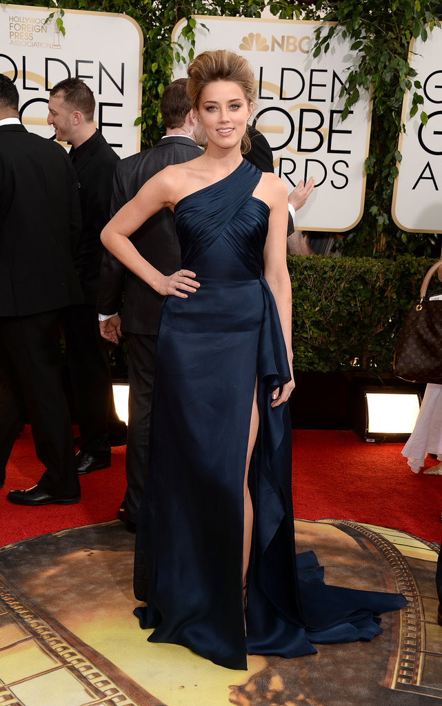 Amber Heard at the Golden Globes in Atelier Versace
