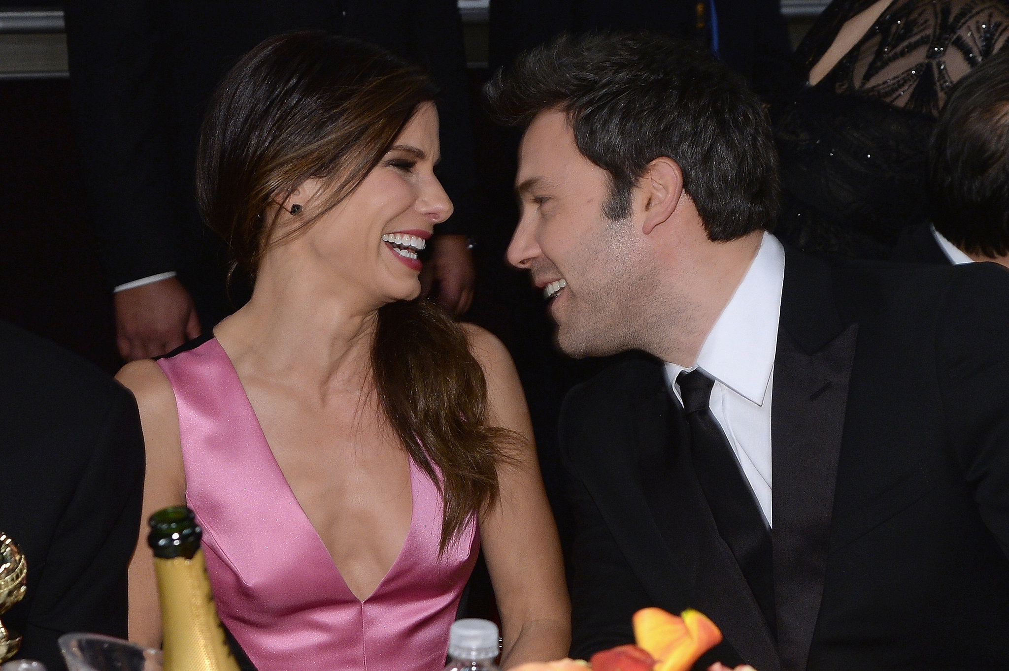 Sandra Bullock and Ben Affleck locked eyes and laughed in the middle of the show.  Source: Larry Busacca/NBC/NBCU Photo Bank/NBC
