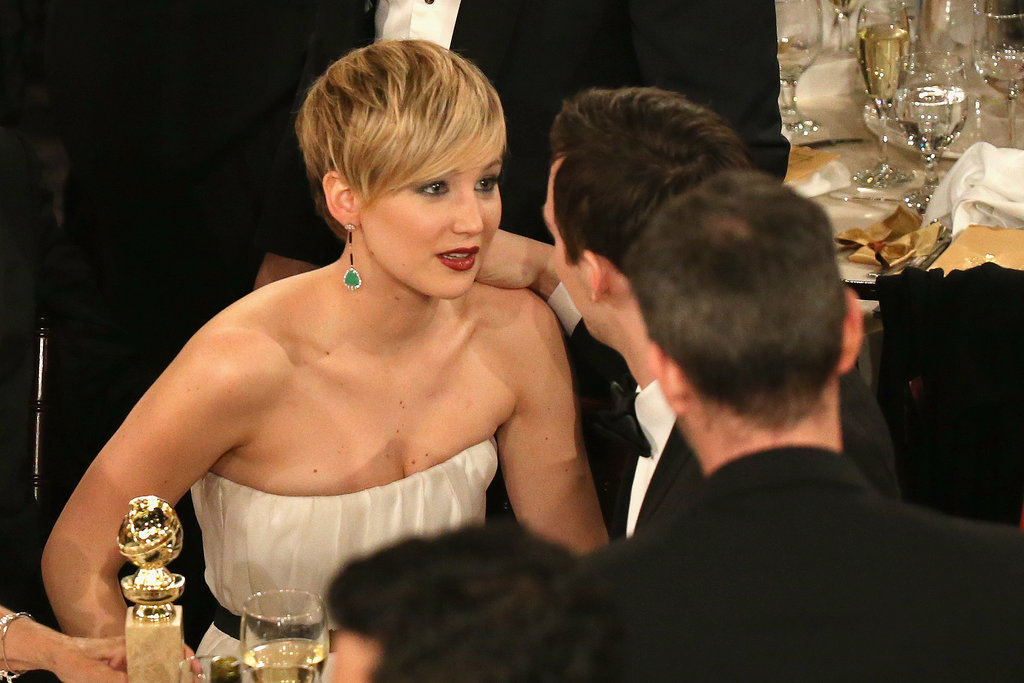 Jennifer Lawrence gazed into her boyfriend Nicholas Hoult's eyes. Source: Christopher Polk/NBC/NBCU Photo Bank/NBC