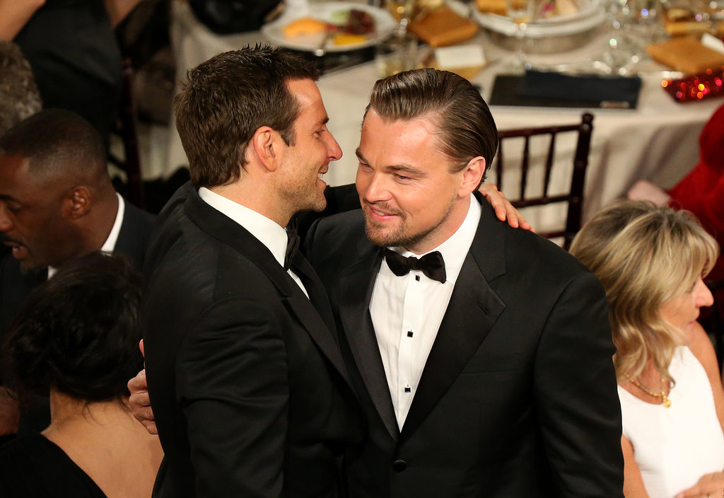 Bradley Cooper and Leonardo DiCaprio hugged it out for the second time at the Globes. Source: Christopher Polk/NBC/NBCU Photo Bank/NBC