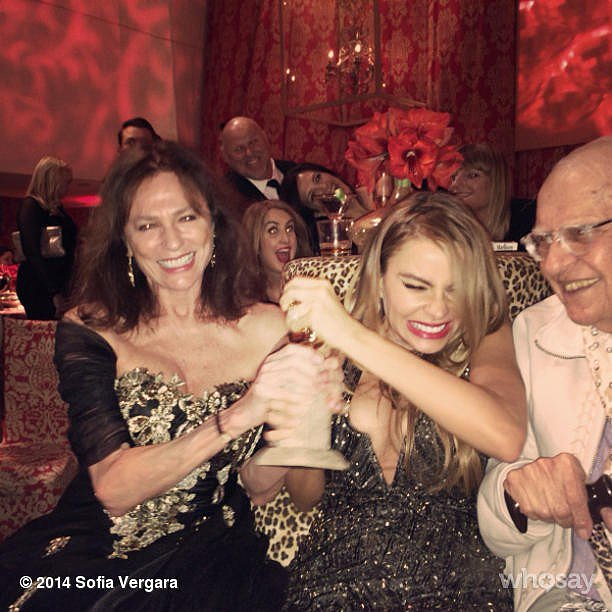 Later in the night, Sofia unsuccessfully tried to wrestle Jacqueline Bisset's Golden Globe award away from her.