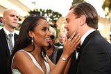 Kerry Washington got up close and personal with Leonardo DiCaprio on the Golden Globes red carpet.