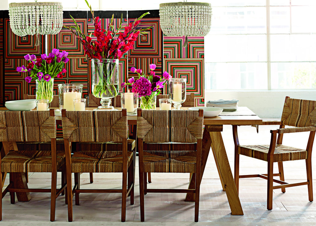 Carson dining collection: armchair ($595), side chair ($495), and counter stool ($595)