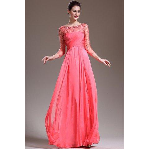 Length Sleeve A Line Floor Length Prom Dresses Beaded Bodice BAB0014
