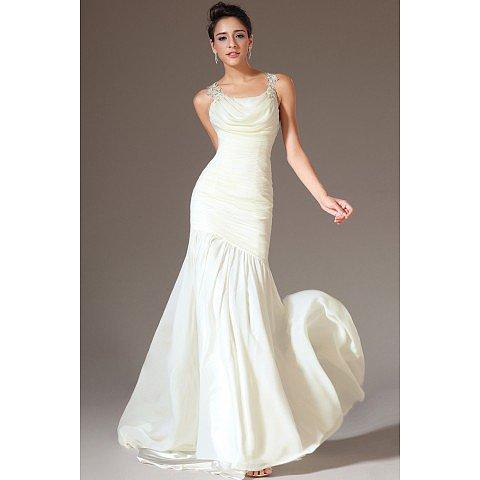 Grand Prom Dresses Straps Mermaid Ruffled Bodice Beaded Open Back BAB0121