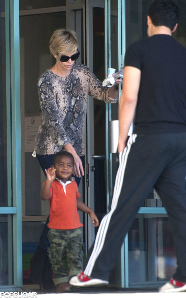 Charlize Theron hit the gym with her little man, Jackson Theron, in LA.