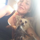 Cameron snapped a postworkout selfie with her pups in bed, again makeup-free! Source: Instagram user camerondiaz