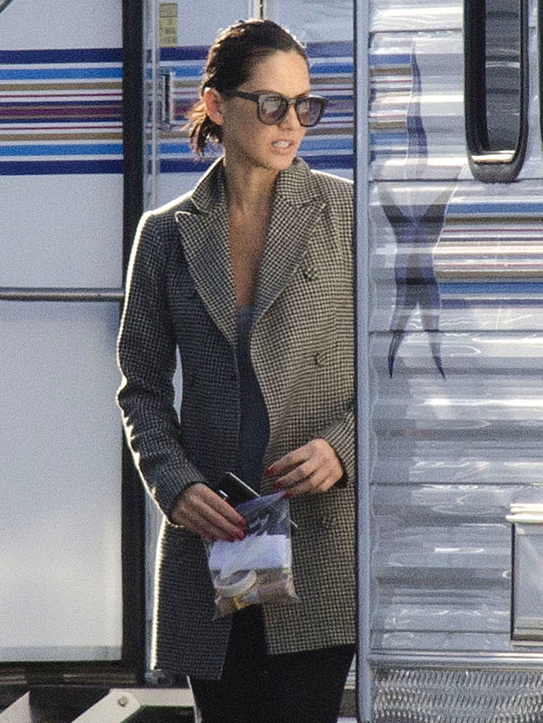 Olivia Munn was covered up on the set of Mortdecai in LA's Sylmar neighborhood on Thursday.