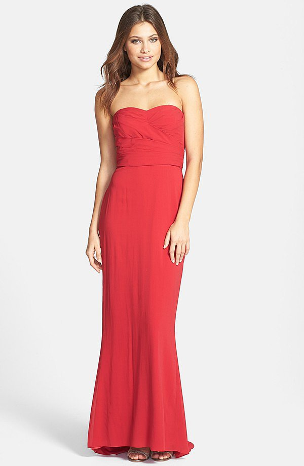 Jill Stuart Red Strapless Dress