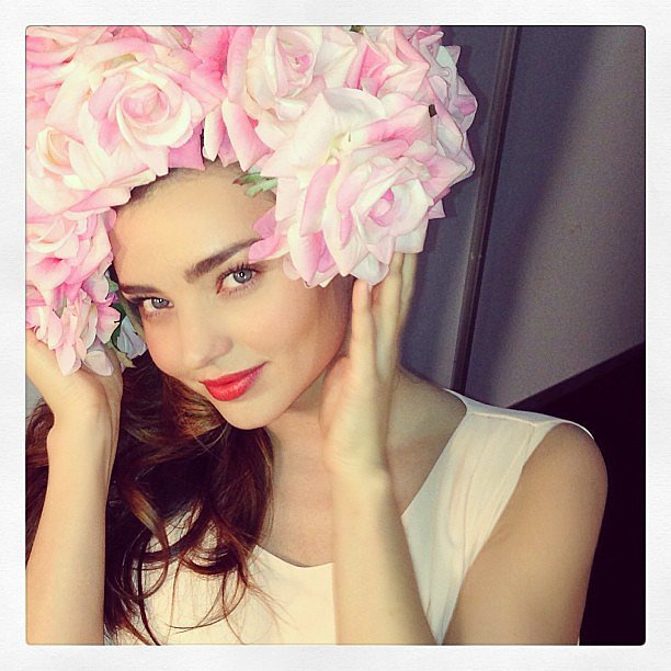 Flynn's mama, Miranda Kerr, showed off her chic floral headpiece. Source: Instagram user mirandakerr