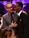 Tom Hanks chatted with his Captain Phillips costar Barkhad Abdi.