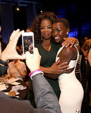 Lupita Nyong'o and Oprah posed for a photo.