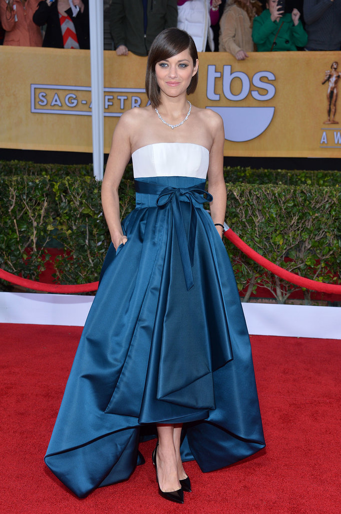 Last year, Marion looked marvellous in a strapless blue-and-white gown from Dior.
