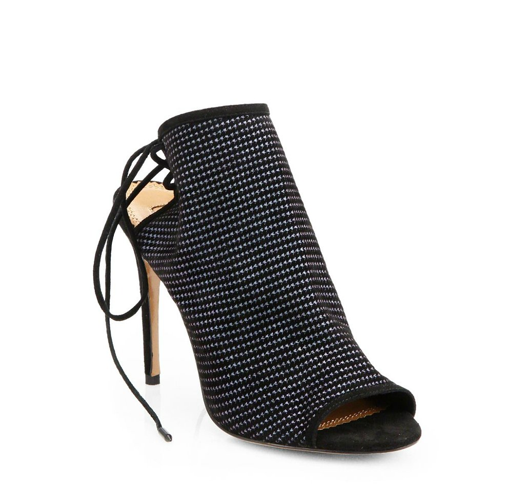 Aquazzura Mayfair Houndstooth Suede Open-Toe Ankle Boots ($417, originally $595)