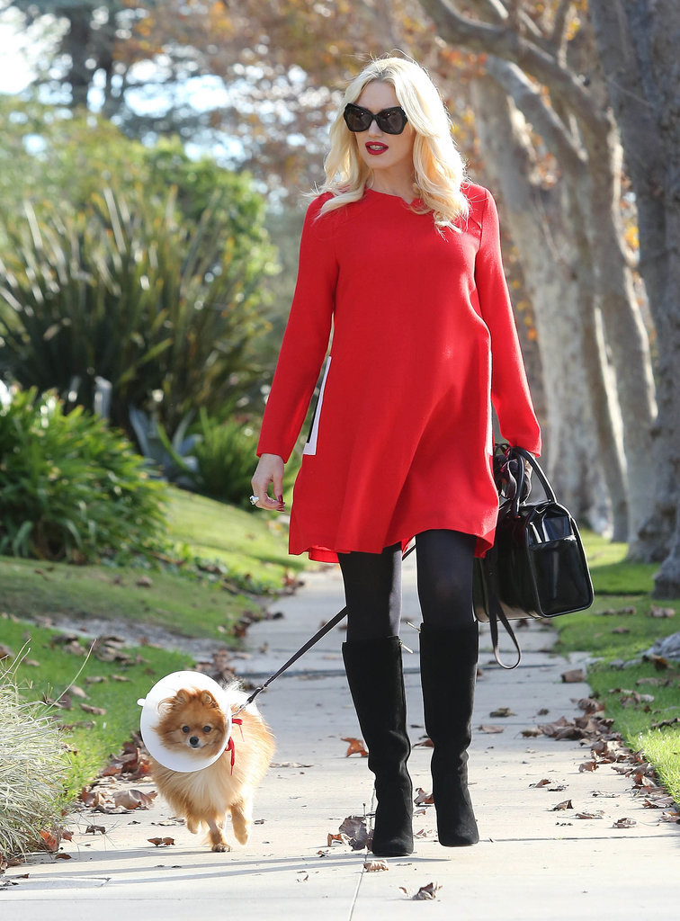 For Gwen, even walking the dog is a reason to dress up. She was a standout in a bright red dress and classic black boots.
