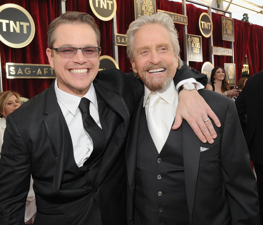 Matt Damon and Michael Douglas got excited about their Behind the Candelabra nomination.