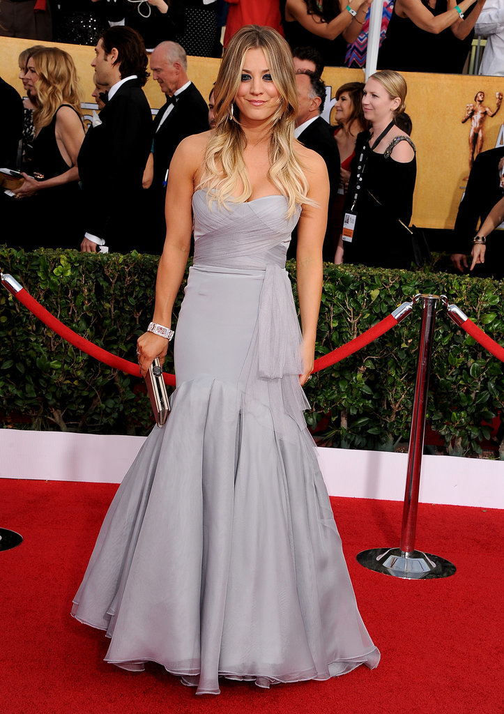 Kaley Cuoco wowed in a soft gray Vera Wang gown.