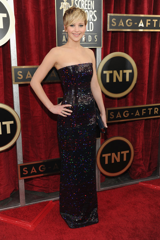 Jennifer Lawrence showed up for the SAGs in a strapless Dior dress.