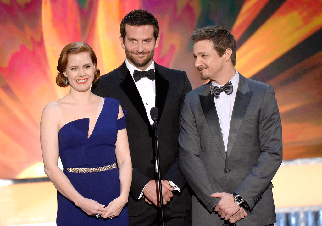 Bradley joined his American Hustle costars Amy Adams and Jeremy Renner on stage to present an award.