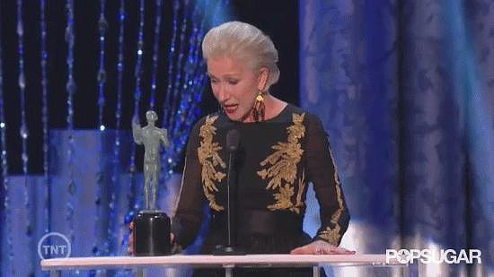 Helen Mirren Admiring the Her Beautiful, Nude Statue
