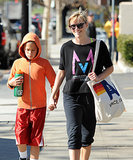 Reese Witherspoon was all smiles after leaving the gym with her son Deacon in LA on Saturday.