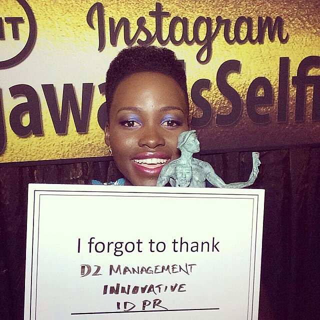 Lupita was all smiles as she held up her award in the press room. Source: Instagram user sagawards