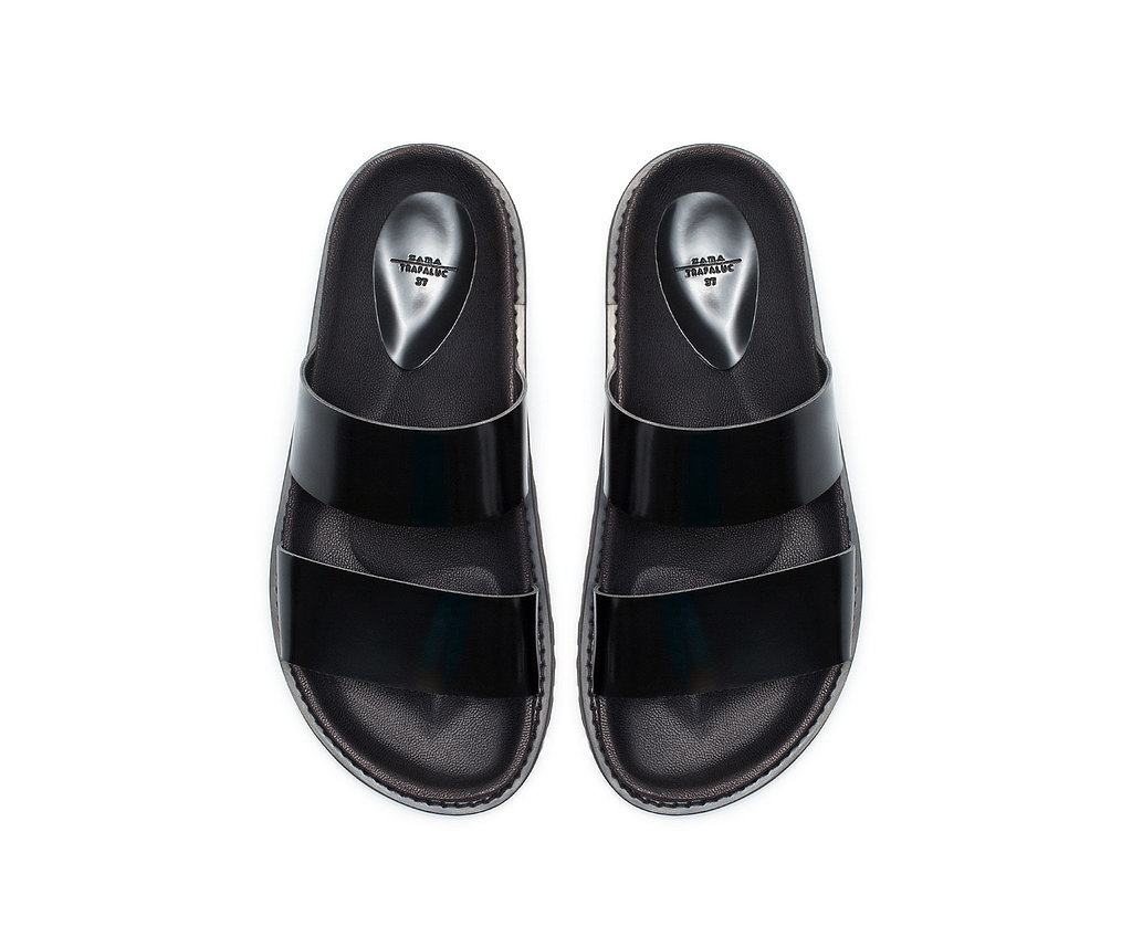 Zara Double Strap Black Sandals