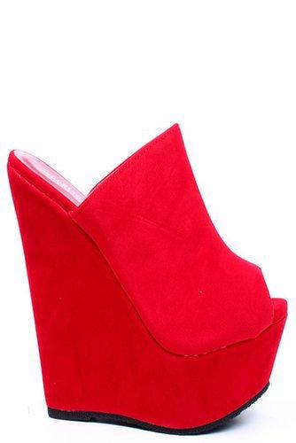 RED FAUX SUEDE PEEP TOE PLATFORM SLIP ON WEDGE  HEELS