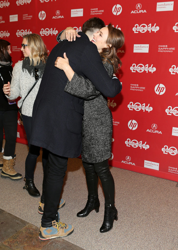 Rachel McAdams hugged her A Most Wanted Man costar Grigoriy Dobrygin on Sunday.