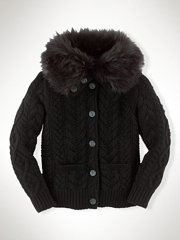Ralph Lauren Faux-Fur Turtleneck Cardigan