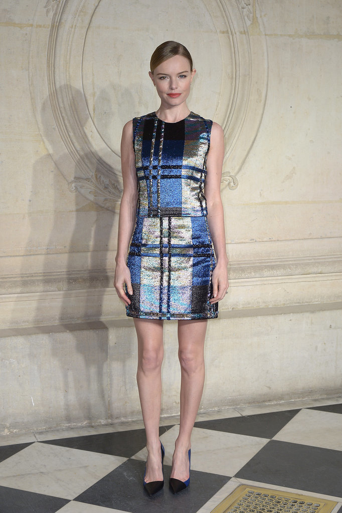 Kate Bosworth in Plaid Dior Outfit at Haute Couture Show
