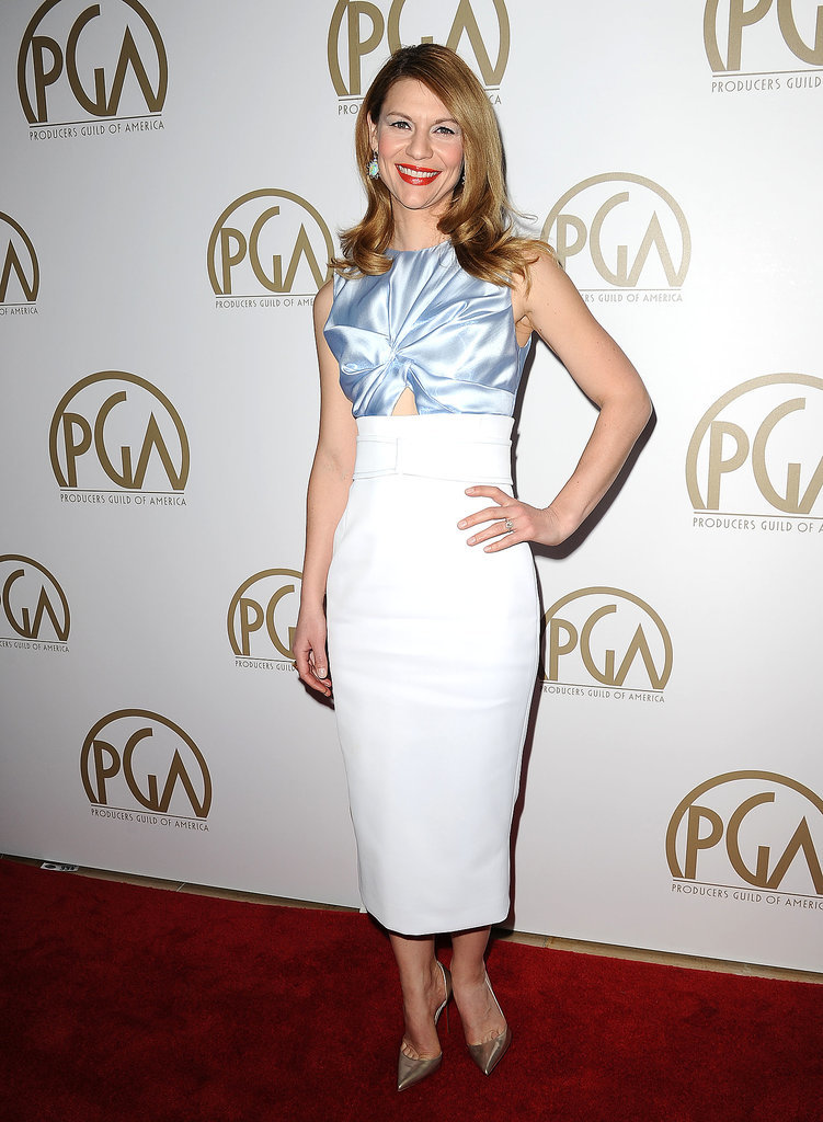 Claire Danes in Blue and White Dior Dress
