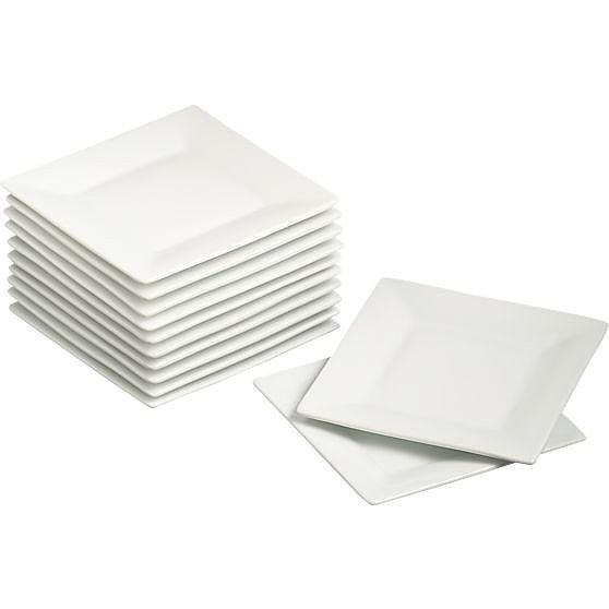 Skip the paper plates and serve small bites on these square appetizer plates ($25).